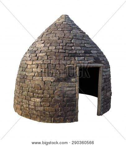 Kazakh Stone Yurt Isolated On White With Clipping Path