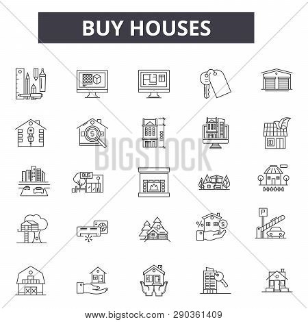 Buy Houses Line Icons For Web And Mobile Design. Editable Stroke Signs. Buy Houses  Outline Concept
