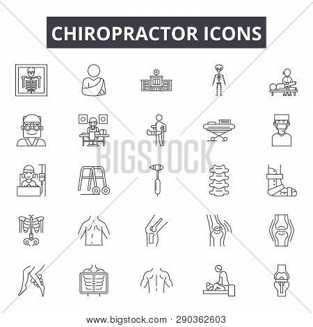 Chiropractor Line Icons For Web And Mobile Design. Editable Stroke Signs. Chiropractor  Outline Conc