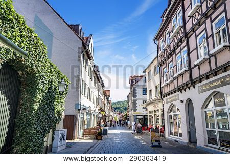 Wernigerode, Germany - August 12 - 2018: People Shoping In The City On A Hot Summer Day In Germany