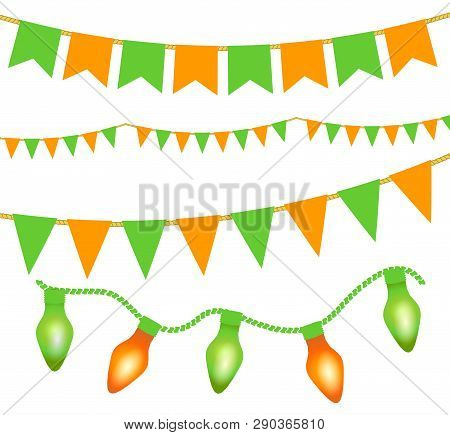 Green And Orange Festive Bunting, Lights And Flag Garlands On White Background. Irish Holiday - Happ