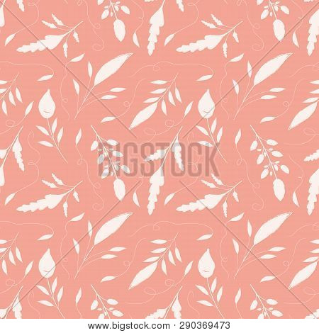 Delicate Hand Drawn Cream Leaves With Ornamental Swirls. Seamless Vector Pattern On Salmon Pink Back