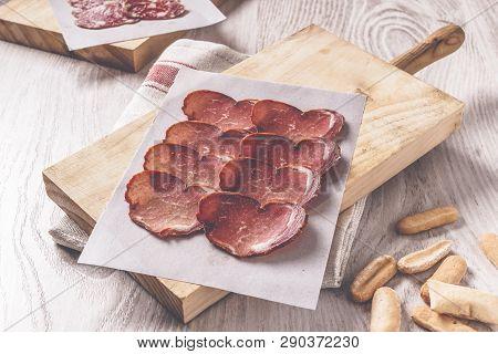 Iberian Loin On Wooden Board