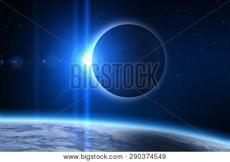 Solar Eclipse, Moon And Earth. Solar Eclipse, Mysterious Natural Phenomenon When Moon Passes Between