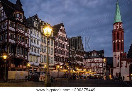 Frankfurt Am Main, Germany - May 14 2018: Old Town (altstadt) In Frankfurt Roemer At Sunset.