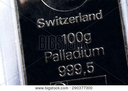 The Surface Of A Palladium Ingot. Palladium Bar Weighing 100 Grams.