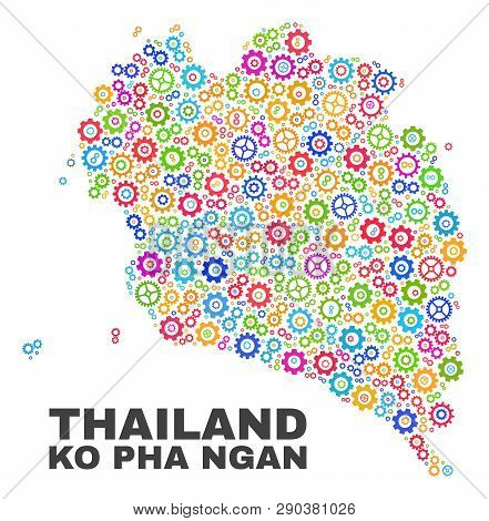 Mosaic Technical Ko Pha Ngan Map Isolated On A White Background. Vector Geographic Abstraction In Di