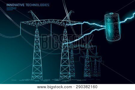 Charged Polygonal Alkaline Battery Power Line. High Voltage Electrical Tower Pylon. Lightning Thunde