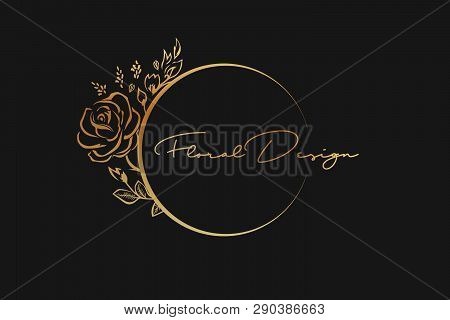 Floral Golden Frame Design. Luxury Floral Design Element. Floral Rose Logo Or Icon.