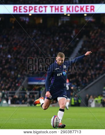 LONDON, ENGLAND - MARCH 16 2019: Finn Russell of Scotland during the Guinness Six Nations match between England and Scotland at Twickenham Stadium.