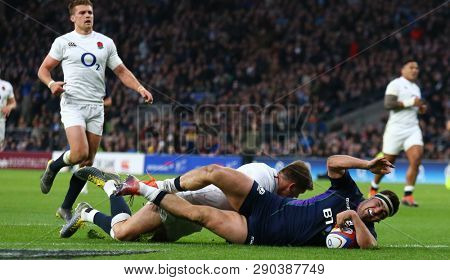 LONDON, ENGLAND - MARCH 16 2019: Stuart McInally of Scotland scores a try during the Guinness Six Nations match between England and Scotland at Twickenham Stadium.
