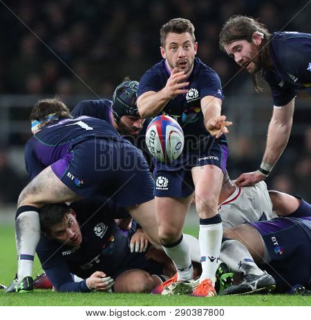 LONDON, ENGLAND - MARCH 16 2019: Greig Laidlaw of Scotland during the Guinness Six Nations match between England and Scotland at Twickenham Stadium.