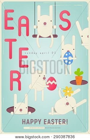 Happy Easter Greeting Retro Card - Cartoon Easter Bunnies, Eggs And Carrot On Blue Background. Verti