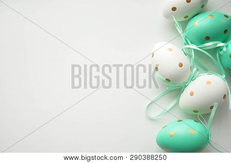 Easter Eggs Are White Blue Polka Dots. Festive Mood. Easter Attributes. Easter Food. Drawing On The