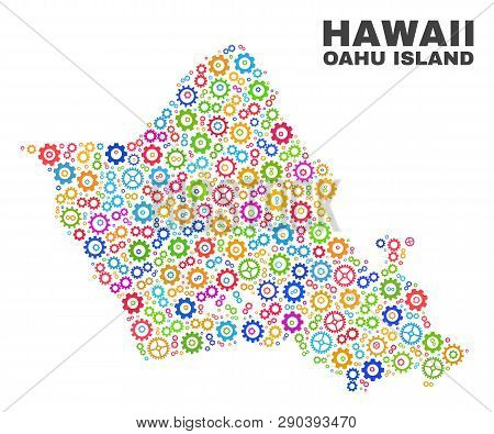 Mosaic Technical Oahu Island Map Isolated On A White Background. Vector Geographic Abstraction In Di