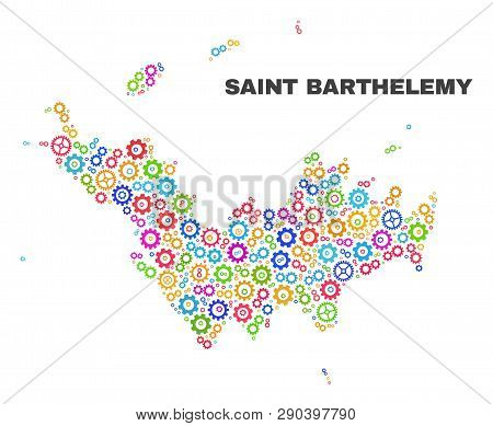 Mosaic Technical Saint Barthelemy Map Isolated On A White Background. Vector Geographic Abstraction