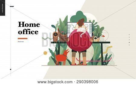 Technology 2 -home Office - Modern Flat Vector Concept Digital Illustration Home Office Metaphor, A