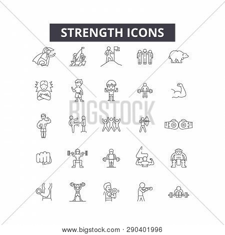 Strength Line Icons For Web And Mobile Design. Editable Stroke Signs. Strength  Outline Concept Illu