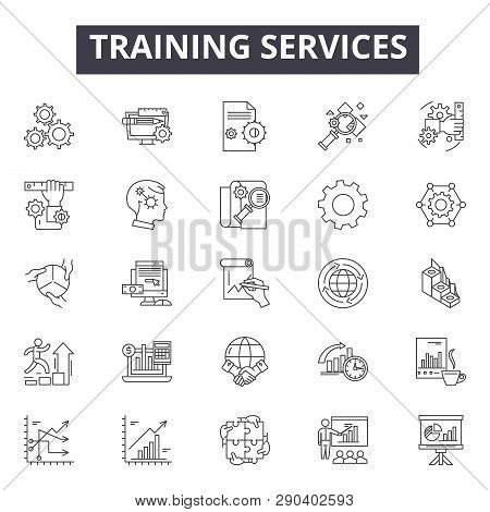 Training Services Line Icons For Web And Mobile Design. Editable Stroke Signs. Training Services  Ou