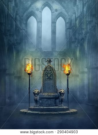 Fantasy Medieval Scene With A Throne And Tourches. Photomanipulation. 3d Rendering.