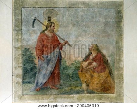 FLORENCE, ITALY - JANUARY 10, 2019: Risen Christ appearing to St. Mary Magdalene, fresco by circle of Giovanni da San Giovanni, Basilica di Santa Croce (Basilica of the Holy Cross) in Florence, Italy