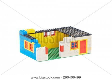 BUDAPEST, HUNGARY - OCTOBER 29, 2017: Lego house made of classic building blocks under construction