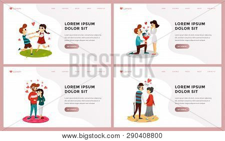 Set Of Webpage Template Folks Of Different Age Overwhelmed In Beautiful Feelings Vector Illustration
