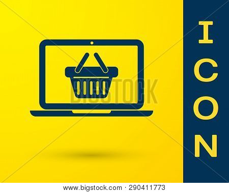 Blue Shopping Basket On Screen Laptop Icon Isolated On Yellow Background. Concept E-commerce, E-busi