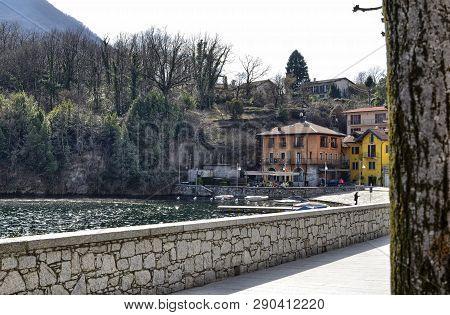 Mergozzo, Piedmont, Italy. March 2019. View Of The Village
