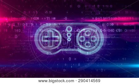 Retro Gamepad Controller Hologram On Digital Background. 5g, Gaming, Play, Pad And Online Game Abstr