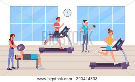 Strong Sports Cartoon Men And Women Doing Sport, Running On Treadmill, Having Strength Exercise Pump