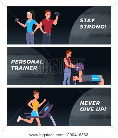 Composition Consist Of Webpage Template Stay Strong, Personal Trainer, Never Give Up. People Working