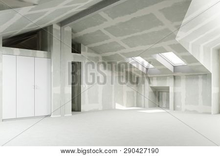 Skinned drywall in the attic of a house as Renoveriung, new construction and house building concept (3d Rendering)