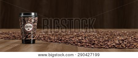 Panorama with Coffee To Go in mug in the middle of many coffee beans (3d Rendering)