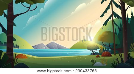 Rural Cartoon Landscape. Beautiful View Of The Lake And The Mountains On Forest Background. Nature L