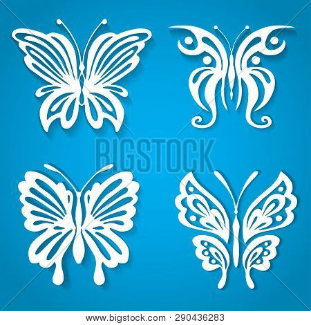 Set Of Decorative Butterfly, Decorated With Organic Shape Paper Cut Style. White Incects On Blue Bac