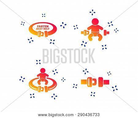 Fasten Seat Belt Icons. Child Safety In Accident Symbols. Vehicle Safety Belt Signs. Random Dynamic