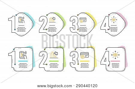 Bitcoin Pay, Decreasing Graph And Change Card Icons Simple Set. Parcel Delivery Sign. Mobile Payment