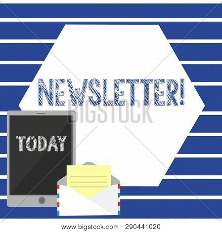 Text Sign Showing Newsletter. Conceptual Photo Bulletin Periodically Sent To Subscribed Members News