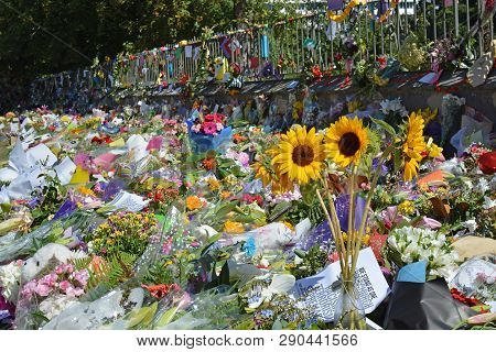 Christchurch, New Zealand - March 19, 2019; Floral Tribute & Messages Of Love And Solidarity From Ki