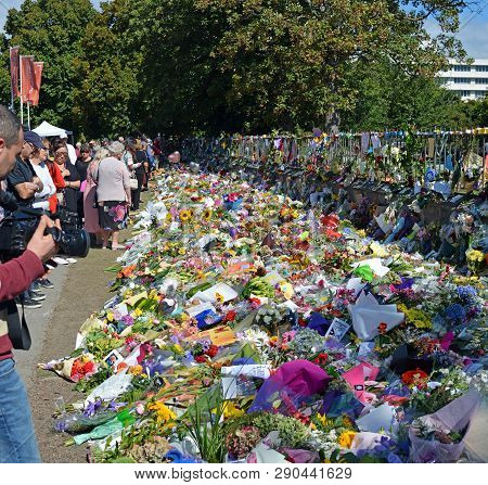 Christchurch, New Zealand - March 19, 2019; Floral Tribute To The 50 People Shot And Killed At Two M