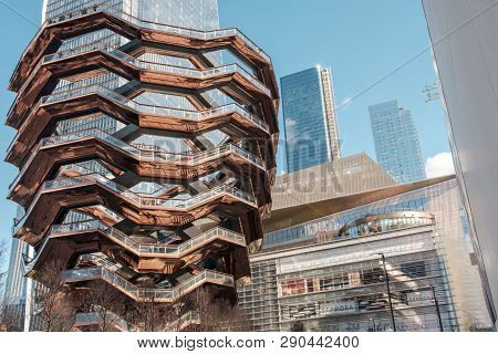 New York City (usa) - Marc 17, 2019: Hudson Yards (and Its Centerpiece, The Vessel) Has Been Opened