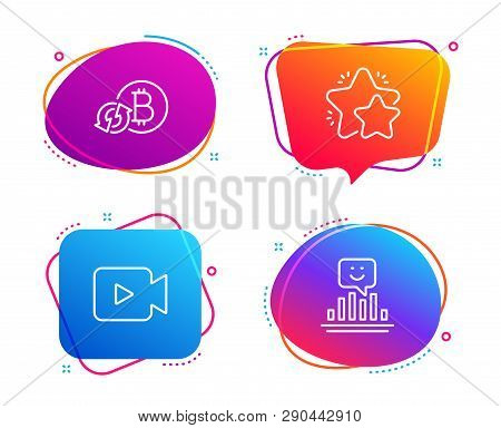 Video Camera, Refresh Bitcoin And Star Icons Simple Set. Smile Sign. Movie Or Cinema, Update Cryptoc