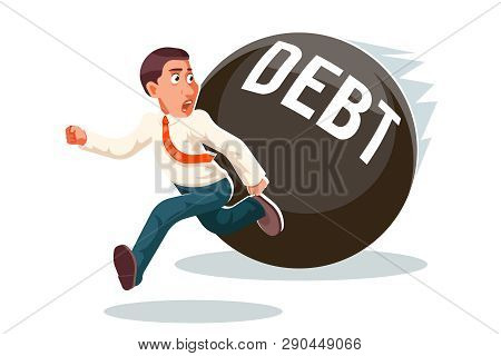 Banking Economic Crisis Run Away Businessman Debt Escape Attempt Scared Stress Isolated Cartoon Char