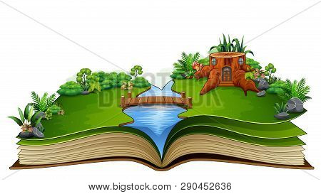 Story Book With River And A Wooden House In A Beautiful Nature