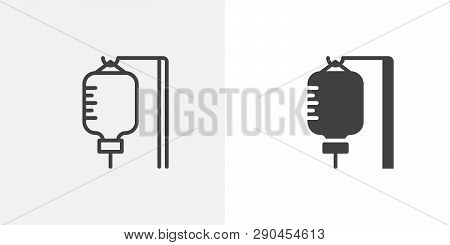 Infusion Drip Icon. Line And Glyph Version, Outline And Filled Vector Sign. Blood Transfusion Bag Li