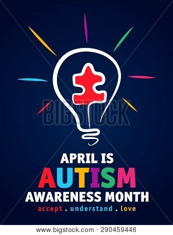 Colorful Design Word World Autism Awareness Day With Puzzle Inside Bulb. World Autism Awareness Day