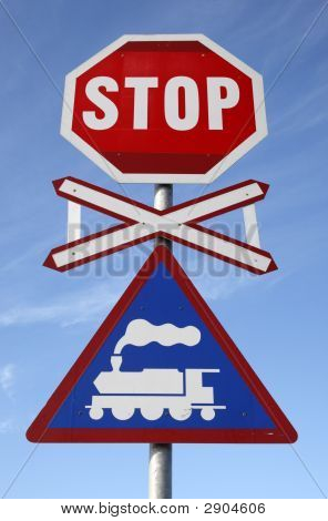 Railway Crossing Stop Sign