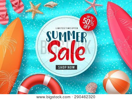 Summer Sale Vector Banner Design With Colorful Beach Elements And Sale Text In White Space And Blue