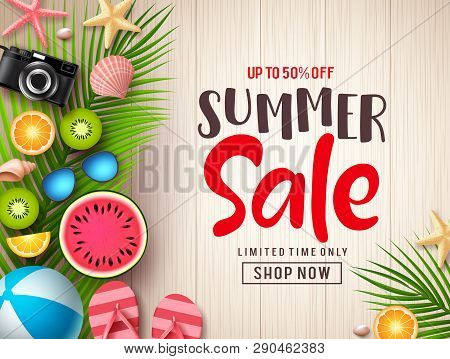 Summer Sale Vector Banner Background Template. Summer Discount Promotion Text In Empty Space With Co